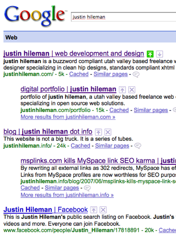 Edited Google SERP