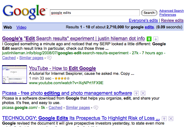 'Google edit' result - promoted