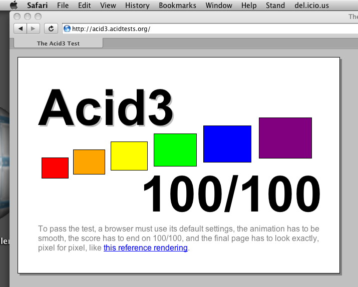 Safari nightly build aces Acid3 test