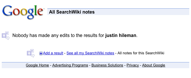 justin hileman - Google edited search results