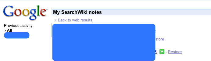 Google SearchWiki - My SearchWiki notes